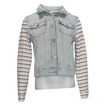 WallFlower Women's Denim Button Closure Striped Jacket Blue