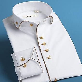 Camisa de smoking, Social Masculina, Camisas de Algodão Slim Fit