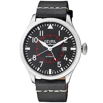 Gevril Vaughn Men's Swiss Automatic Black Dial Black Calfskin Leather Watch