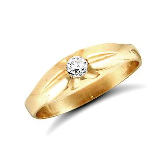 Jewelco London Kinder solide 9ct Gelbgold weiß Runde brillante Zirkonia Zigeuner Solitär Baby Ring