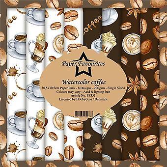 Papper Favoriter Akvarell Kaffe 12x12 Tums Papperspaket