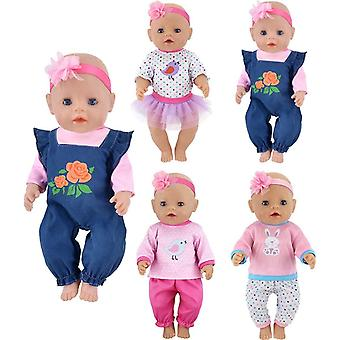 ebuddy Doll Clothes 4 Sets Include Jeans Tops Pants Headband Skirt