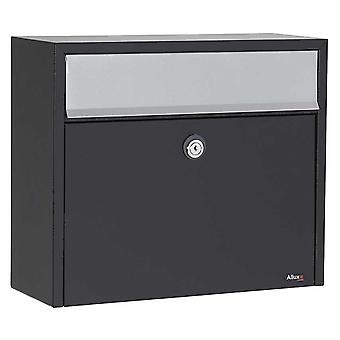 Allux Series Lt150 Wall Mount Mailbox In Black With Gray Flap