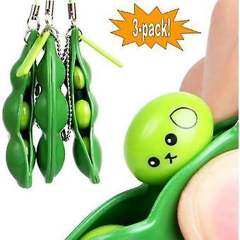 3-Pack - Green Beans - Bönor - Fidget Toys - Leksak / Sensory Grön