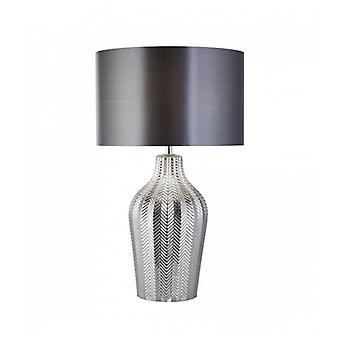 1-light Chevron Table Lamp With Gray Shade And Ribbed Smoked Glass Base