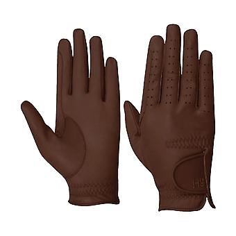 Battles Hy5 Adults Leather Riding Gloves - Brown
