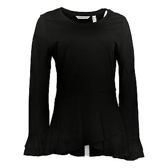 Isaac Mizrahi Live! Women's Top Knit Asymmetric Peplum Black A346846