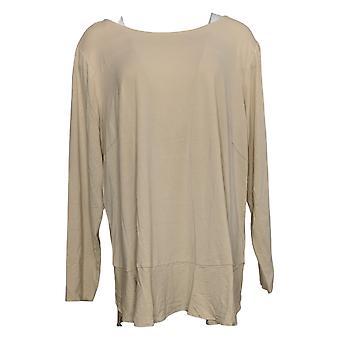 Linea Por Louis Dell'Olio Women's Plus Top Soft Peplum Knit Bege A302559