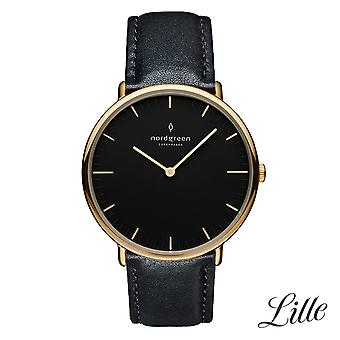 Nordgreen Ladies Native Leather Gold 32mm Watch NR32GOLEBLBL