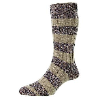 Pantherella Rockley Block Stripe Socks - Barnacle Mix Purple