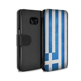 STUFF4 PU Leather Wallet Flip Case/Cover for Samsung Galaxy S7 Edge/G935/Greece/Greek/Flags