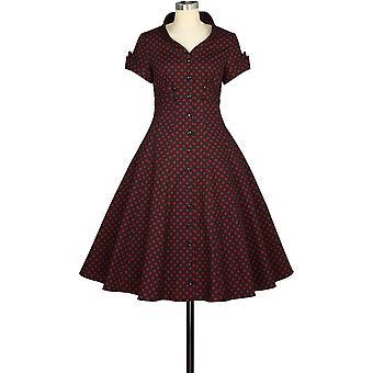 Chic Star Standard Collar Retro Dress In Red/Black