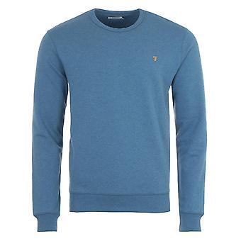 Farah Tim Organic Cotton Crew Neck Sweatshirt - Blue Mist Marl