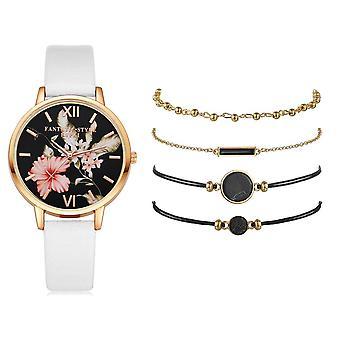 Set Women Watches, Bracelet, Ladies Casual Leather Quartz Wristwatch Clock