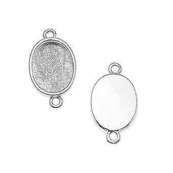 Nunn Design Bright Silver Plated Bezel Pendant Oval Link 14x10mm