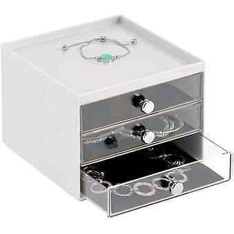 FengChun Schmuck Organizer Aufbewahrungsbox aus transparentem Kunststoff mit DREI Schubladen