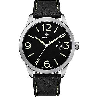 Relógio de pulso SWIZA Magnus, ETA F07.111, vidro de safira, caixa de aço inoxidável 316L, mostrador preto, pele de bezerro