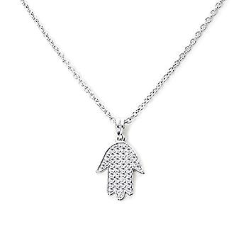 Eye Candy, women's necklace with hand pendant of Fatima in sterling 925 rhodium silver, with 42 stones of zirconia, 45 cm, Ref. 4045425024435