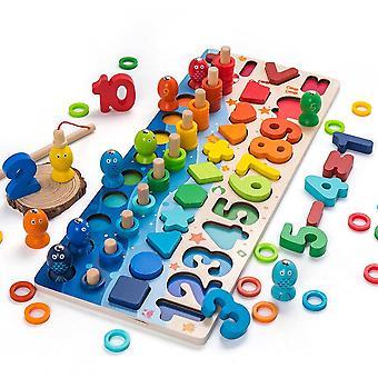 Montessori Educational Jucării din lemn Geometric Shape Cognition Puzzle Toys Math Toys| Jucării matematice