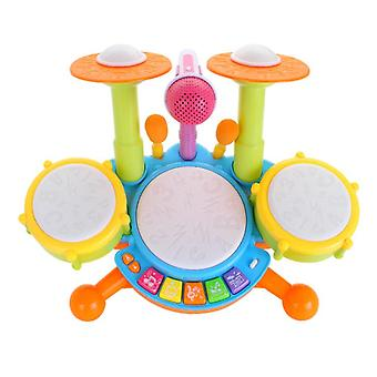 Drum Set For Kids With 2 Drum Sticks And Microphone, Musical Toys For Toddlers