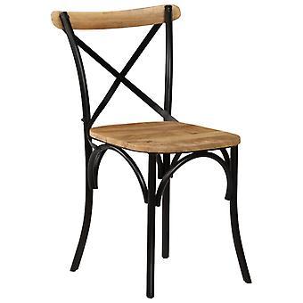 vidaXL sillas de comedor 4 piezas de mango negro de madera maciza