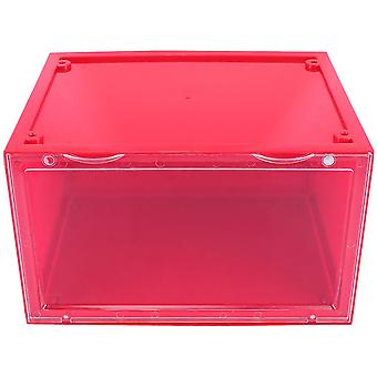 1pc Shoes Box Side Open Magnetic Type Shoes Organizer Dustproof Shoes Display Box (red)