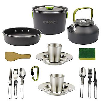1 Set Of 16pcs Outdoor Picnic Tableware Set Non-stick Camping Cookware Set Portable Cooking Tool Set For Home Camping 2-3 People Use (green+black)