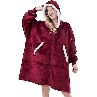Warm And Cozy Thick Flannel Oversized Hoodie With Sleeves And Giant Pocket(Red)