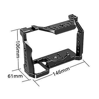 """Aluminum camera cage for sony a7s with cold shoe mount black protective full formfitting rig for a7s dslr 1/4"""" 3/8"""" screw hole"""