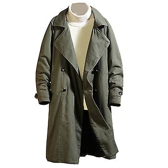 Yunyun Men's Solid Color Plus Velvet Padded Lapel Casual Trench Dust Coat