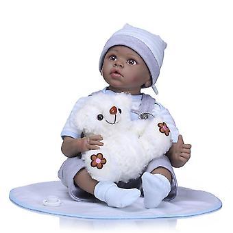 22Inch reborn silicone vinyle noir baby dolls enfants jouer maison bebe cadeau boneca reborn silicone reborn baby dolls enfants jouets