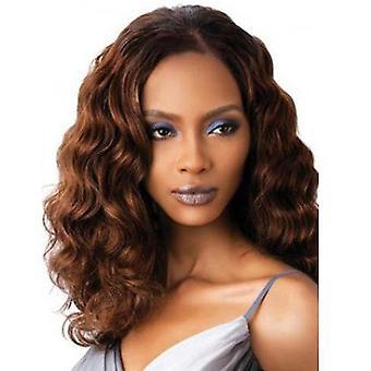 Lång våg lockig peruk för kvinnor (brun)