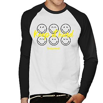 Smiley World Keep It Kind Men's Baseball Long Sleeved T-Shirt