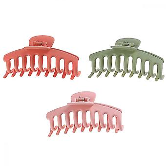 Acrylic Big Claw Clips, 3 Pcs Matte Powerful Hairpin Non-slip Hairpin For Women (orange Pink Green)