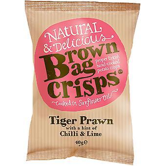 Brown Bag Crisps Tiger Prawn avec piment et citron vert 40g (Boîte de 20 paquets)