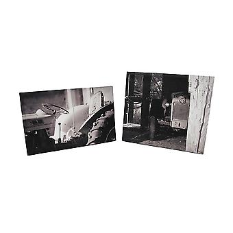 Black And White Vintage Tractors Printed Canvas Wall Hanging Set of 2