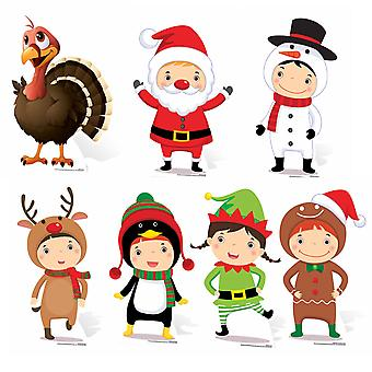 Mini Christmas Themed Cardboard Cutout / Standee Collection - Set Of 7 Cutouts