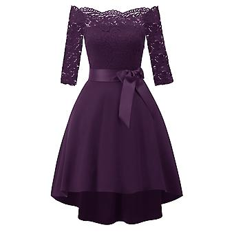 Floral Lace Embroidered 3/4 Sleeve Asymmetry Prom Wedding Bridesmaid Dress
