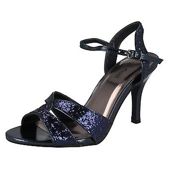 Ladies Anne Michelle Cross Over Glitter Heeled Sandals