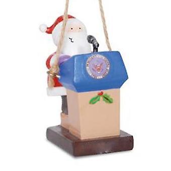 Jolly Santa at Presidential Podium Christmas Holiday Ornament