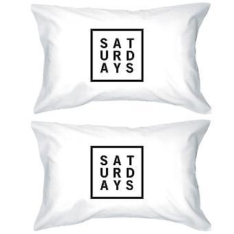 Saturdays Cotton Standard Pillow Case Unique Graphic Weekend Lovers