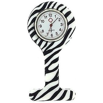 Boolavard® TM Nurses Fashion Coloured Patterned Silicon Rubber Fob Watches - Zebra