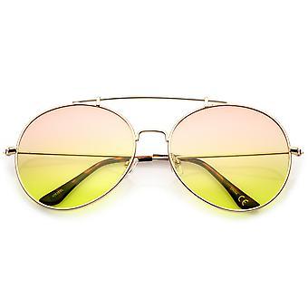 Mince de pont de nez du Double métal oversize d'armes dégradé autour des lunettes de soleil aviateur lentille 64mm