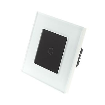I LumoS White Glass Frame 1 Gang 1 Way WIFI/4G Remote & Dimmer Touch LED Light Switch Black Insert