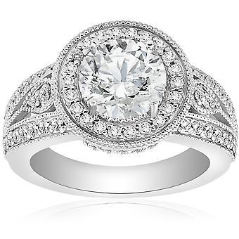 2.75CT Vintage Halo Diamond Engagement Ring 14K White Gold