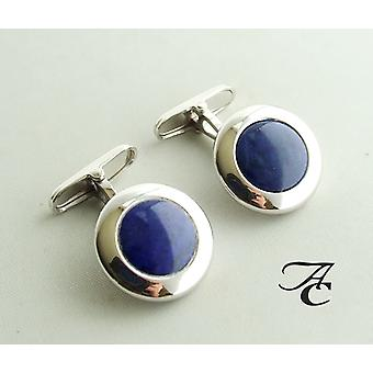 Gold cuff links with lapis lazuli