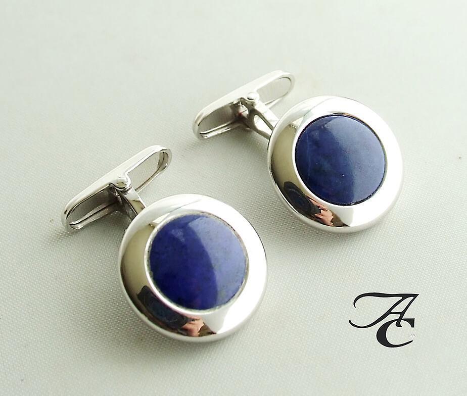 Gold cuff links with lapis lazuli