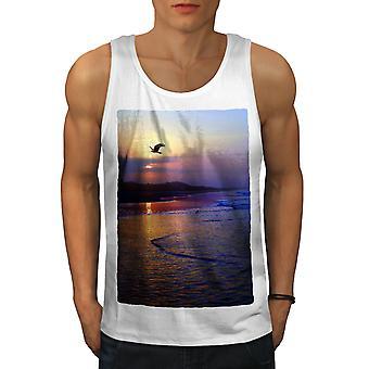 Photo coucher de soleil Men WhiteTank Top de plage | Wellcoda