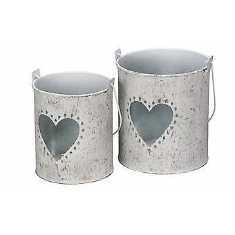 Rustic Metal Lanterns With Cut-Through Heart Design (Set Of 2)