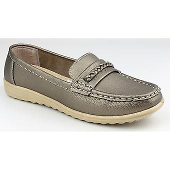 Amblers Ladies Thames Slip On mocassino stile scarpa Pewter